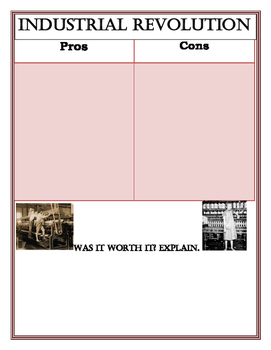 Industrial Revolution Pros and Cons Worksheet