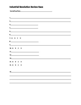 Industrial Revolution Quiz Answer Sheet