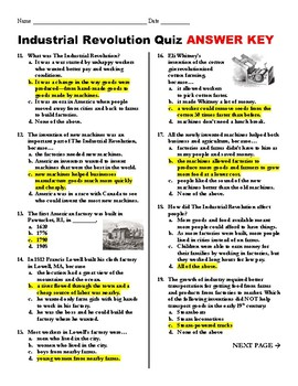 Industrial Revolution Quiz with Answer Key