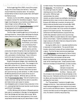 Industrial Revolution Reading Comprehension