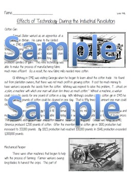 Industrial Revolution Reading Comprehension and Foldable