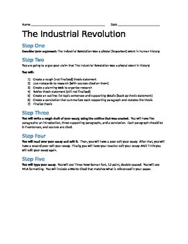 industrial revolution research paper by jill kostishion tpt industrial revolution research paper