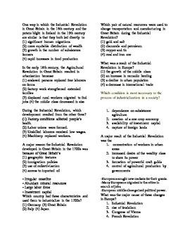 Industrial Revolution Review Sheet