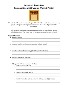Industrial Revolution Scientist/Inventor Wanted Posters