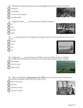 Industrial Revolution Socrative Quiz (20 MCQ)