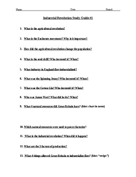 Industrial Revolution Study Guide