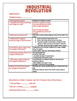 Industrial Revolution Study guide!