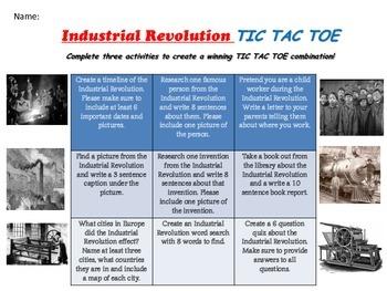 NO PREP - Industrial Revolution TIC TAC TOE