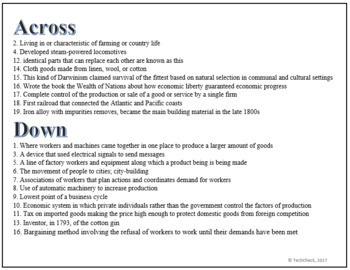 Industrial Revolution Terminology Crossword Puzzle Activity Worksheet