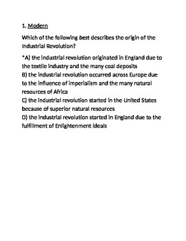 Industrial Revolution Test (A)- for Respondus (World Civilizations II)