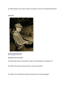 Industrial Revolution Test (with Primary Source analysis)
