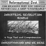 Industrial Revolution Informational Text Worksheets Bundle