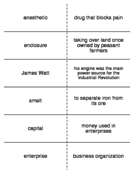 Industrial Revolution Vocabulary Flash Cards for World History