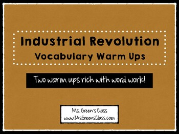 Industrial Revolution Vocabulary Warm Ups