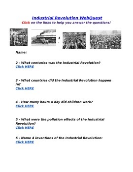 Industrial Revolution WebQuest