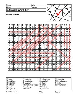 Industrial Revolution Word Search and Word Scramble Printable Worksheets