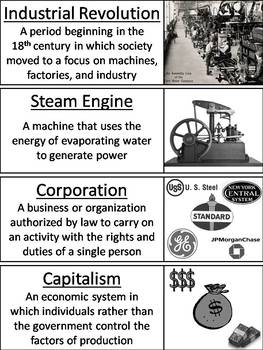 Industrial Revolution Word Wall Cards