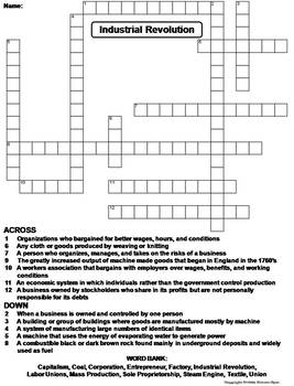 Industrial Revolution Worksheet/ Crossword Puzzle