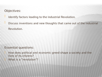 Industrial Revolution an overview