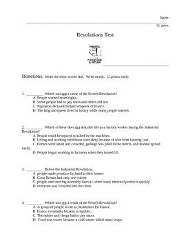 Industrial Revolution and French Revolution Questions and Test