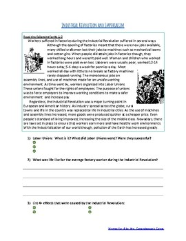 Industrial Revolution and Imperialism- Connecting with Reading Comprehension