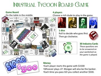 Industrial Tycoon Trivia and Board Game