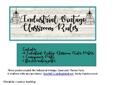 Industrial Vintage Classroom Rules, Growth Mindset and Fle