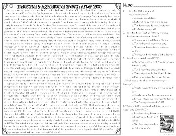 Industrial and Agricultural Growth After 1900 Leveled Text Reading Passages