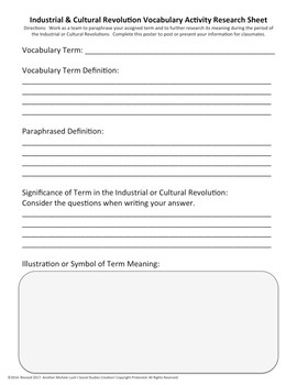 Industrial and Cultural Revolution Vocabulary Student Activity