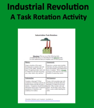 Industrialism Task Rotation Assessment or Homework Assignments