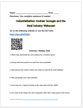 Industrialization: Andrew Carnegie and the Steel Industry Webquest