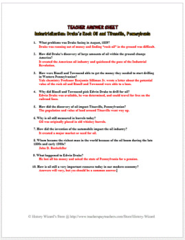 Industrialization: Drake's Rock Oil and Titusville, Pennsylvania Worksheet