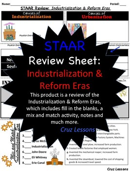 Industrialization Era, STAAR Review Sheet