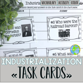 Industrialization and Famous Inventors Task Cards and Reco
