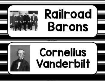 Industrialization & Famous Inventors Word Wall w/o definitions - Black and White