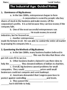 Industrialization Guided Notes