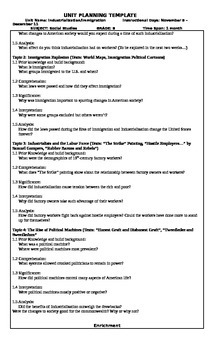 Industrialization / Immigration UbD Unit Plan
