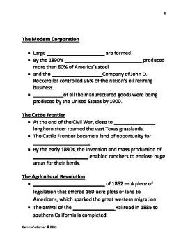 Industrialization & Urbanization 1870-1910 Video Notes- Schlessinger Media
