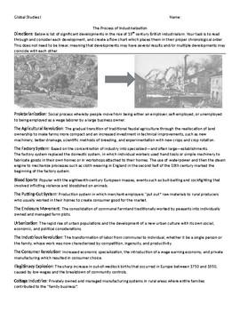 Industrialization Vocabulary Sort