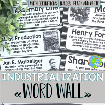 Industrialization and Famous Inventors Word Wall - Black a