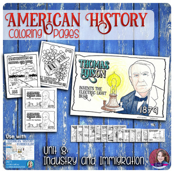 Invention, Industrialization, and Immigration Coloring Activities - US History