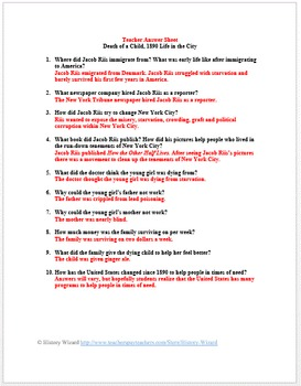 Industrialization and Jacob Riis Primary Source Worksheet: Death of a Child