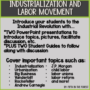 Industrialization and Labor Movement Double Pack 2 PowerPoints and Study Guides