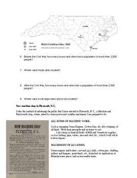 Industrialization of North Carolina Questions