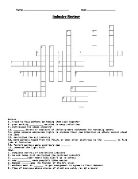 industrial revolution crossword puzzle by mrs quigleys classroom spectacular. Black Bedroom Furniture Sets. Home Design Ideas