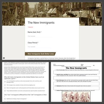 Industry and Immigration Lesson (1865-1914): The New Immigrants