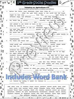 Industry vs. Agriculture Cloze/Filln Blank#15~Social Studies Weekly~NOPRP