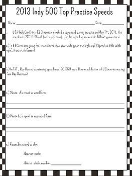 Indy 500 Math Activities