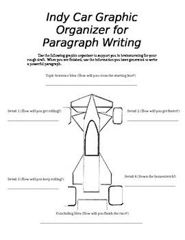Indy Car Paragraph Writing Graphic Organizer (editable)