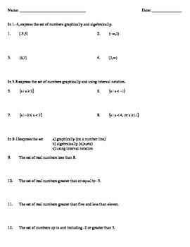 Inequalities - Real World Applications Notes, Classwork, and Homework